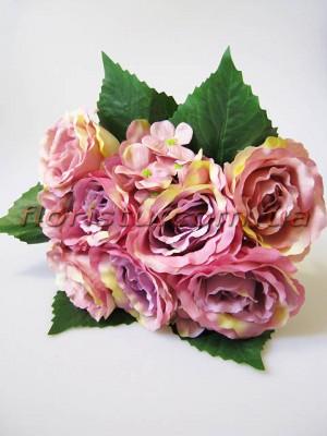 Букет-дублер объемный из роз и гортензии Пепельно-розовый гол. 9 см