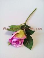 Роза искусственная мини Сиреневая 32 см гол. 7 см