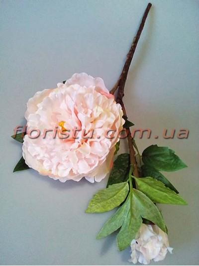 Ветка с нежно-розовым пионом премиум класса 44 см гол. 12 см