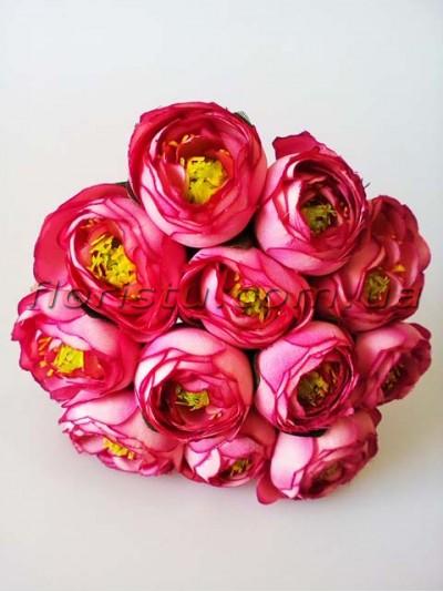 Букет ранункулюсов премиум винно-розовых 12 голов 3-5 см