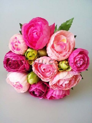 Букет-дублер из ранункулюсов малиново-розовых 20 см