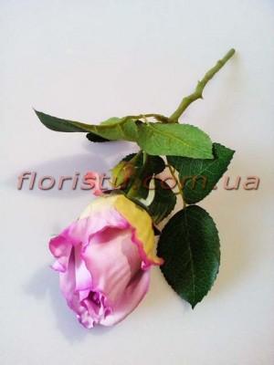 Роза искусственная мини Сиреневая 32 см гол. 5 см