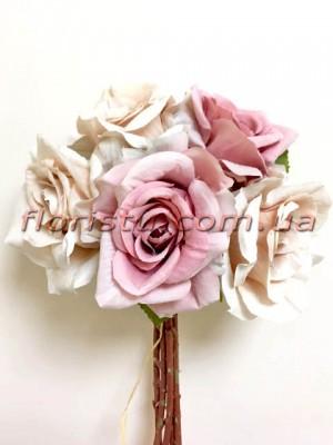 Букет-дублер Винтаж из роз кремовых и розовых 30 см
