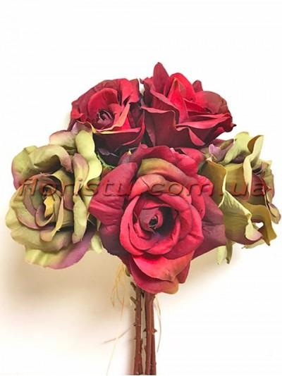 Букет-дублер Винтаж из роз оливковых и красных 30 см