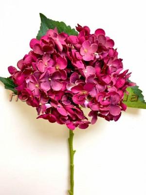 Гортензия искуственная премиум Малиново-фиолетовая гол. 18 см 50 см