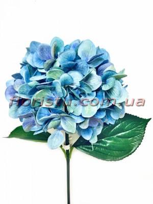 Гортензия искуственная премиум Винтаж голубая гол. 16 см 55 см