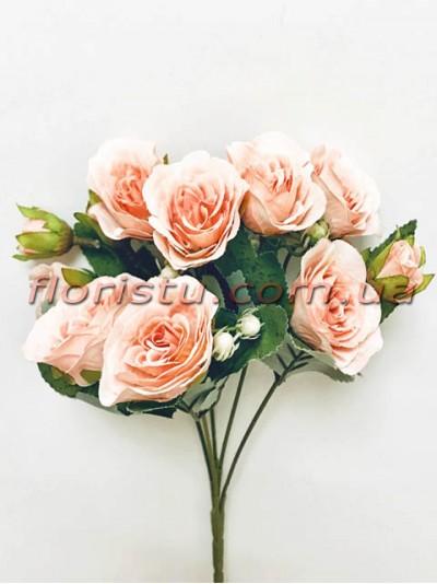 Букет роз Прованс нежно-персиковый 30 см гол. 4 см