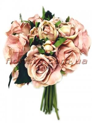 Букет из искусственных роз Премиум Винтаж розовый 18 ножек 22 см