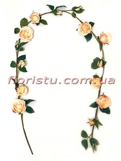 Лиана Премиум с персиковыми розами искусственная 150 см