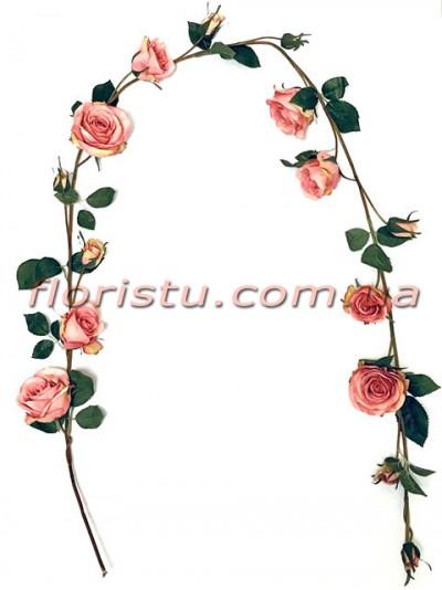 Лиана Премиум с розовыми розами искусственная 150 см