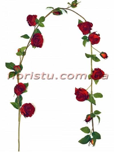 Лиана Премиум с красными розами искусственная 150 см