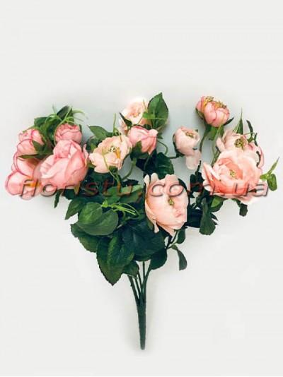 Букет садовых роз персиковых 33 см