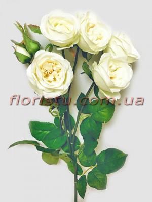 Роза искусственная ветка премиум Шампань 60 см