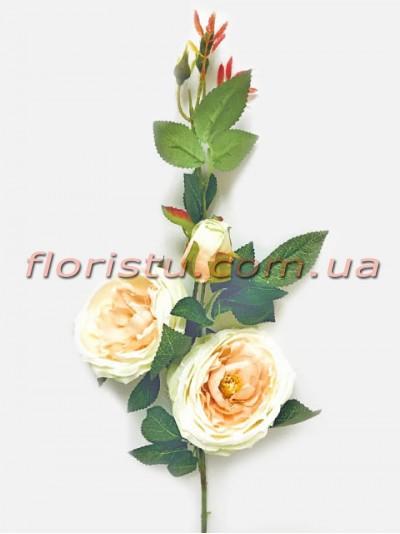 Ветка с искусственными розами премиум класса Нежно-персиковыми 90 см