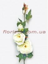 Ветка с искусственными розами премиум класса Белыми 90 см