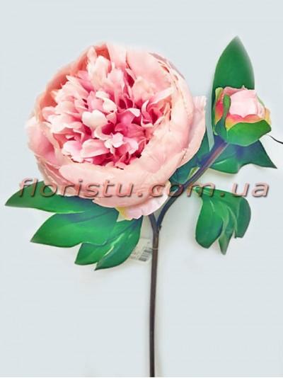 Пион искусственный премиум класса Розовый 60 см