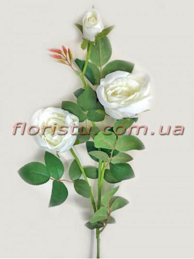 Роза искусственная Белая премиум класса 73 см