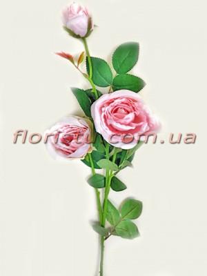 Роза искусственная Нежно-розовая премиум класса 73 см