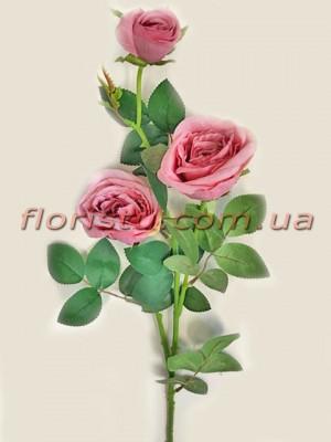 Роза искусственная Винно-розовая премиум класса 73 см