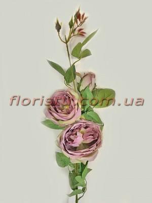 Ветка с искусственными розами премиум класса Какао 90 см