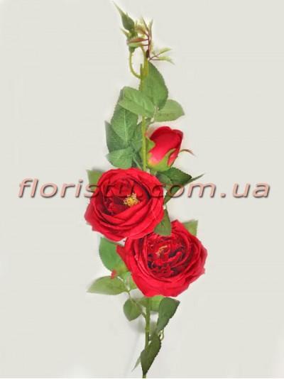 Ветка с искусственными розами премиум класса Красными 90 см