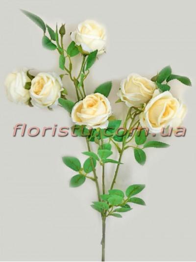 Ветка с искусственными розами премиум класса Кремовыми 72 см