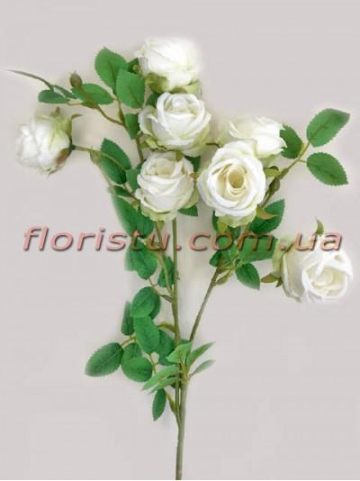Ветка с искусственными розами премиум класса Белыми 72 см