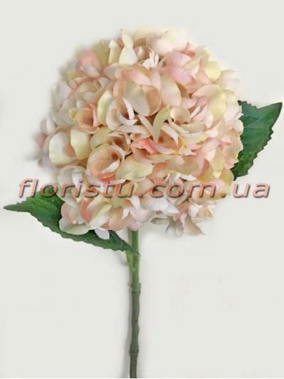 Гортензия искуственная премиум Винтаж NEW персиково-розовая гол. 16 см 55 см