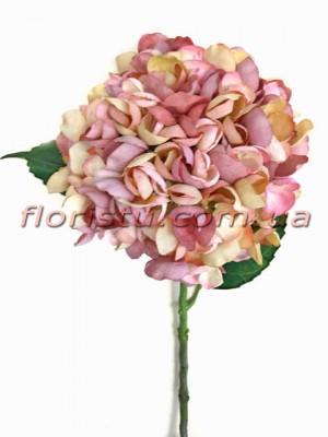 Гортензия искуственная премиум Винтаж NEW сиренево-розовая гол. 16 см 55 см