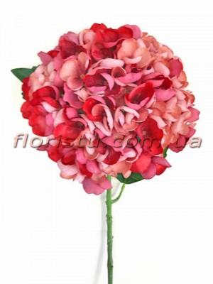 Гортензия искуственная премиум Винтаж NEW красно-розовая гол. 16 см 55 см