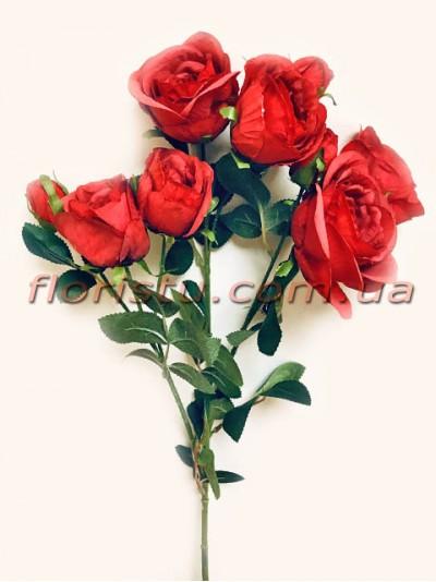 Роза гэлакси искусственная ветка премиум кораллово-красная гол. 7 см 72 см