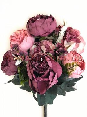 Букет пионов Винтаж премиум класса с гортензией и добавками сиренево-розовый 50 см