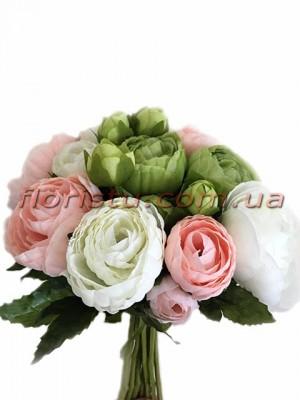 Букет-дублер из ранункулюсов нежно-розовых, белых и зеленых 20 см