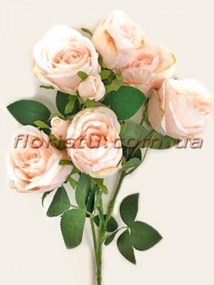 Роза гэлакси искусственная ветка премиум персиковая гол. 7 см 72 см