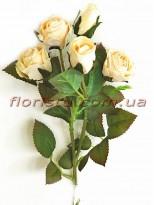 Роза искусственная премиум класса Ретро Кремовая 43 см