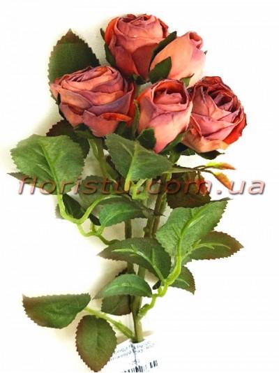 Роза искусственная премиум класса Ретро Оранж 43 см