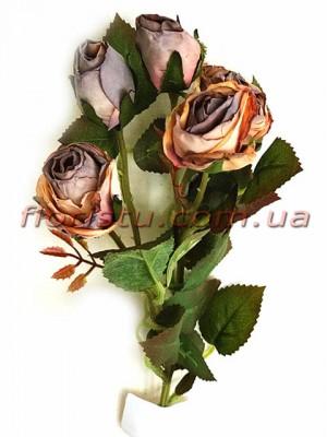 Роза искусственная премиум класса Ретро Кофейная 43 см