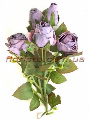 Роза искусственная премиум класса Ретро Сиреневая 43 см
