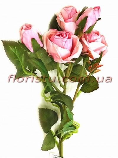 Роза искусственная премиум класса Ретро Розовая 43 см