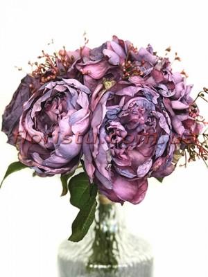 Букет-дублер из пионов Ретро Фиолетовый 28 см