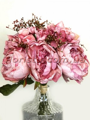 Букет-дублер из пионов Ретро Розовый 28 см