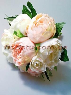 Букет-дублер из пионов белых и нежно-розовых 30 см гол. 7-9 см