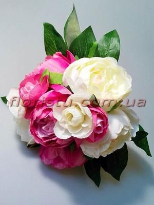 Букет-дублер из пионов кремовых и розовых 30 см гол. 7-9 см