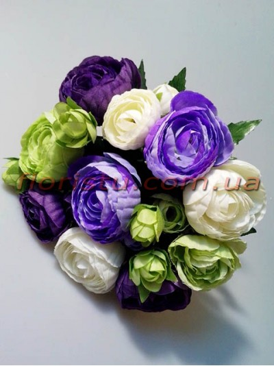 Букет-дублер из ранункулюсов фиолетовый 20 см