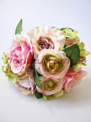 Букет Мемори роза+ранункулюс+гортензия розовый 25 см 9 голов
