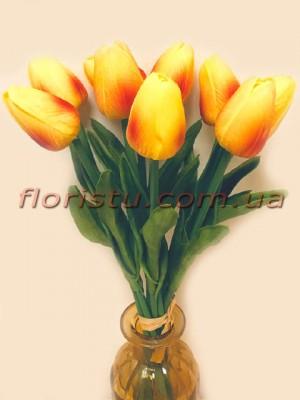 Букет тюльпанов из латекса солнечно-оранжевые 9 шт. 30 см