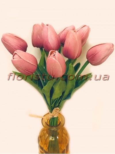 Букет тюльпанов из латекса пепельно-розовые 9 шт. 30 см