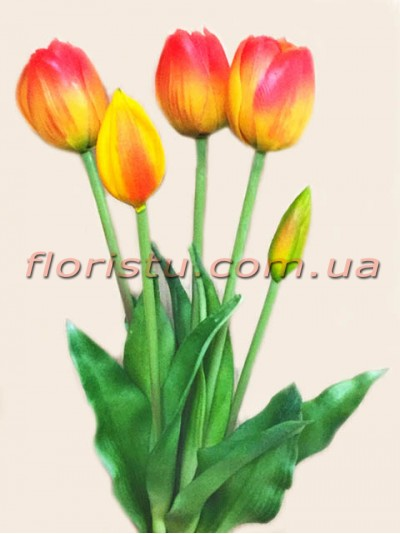 Букет тюльпанов из латекса Премиум класса Красно-желтых 5 шт. 40 см