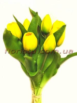 Букет тюльпанов латексных Премиум Желтый 7 шт. 30 см