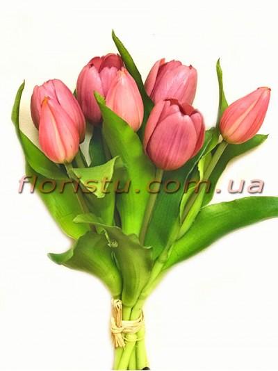 Букет тюльпанов латексных Премиум Сиреневый 7 шт. 30 см